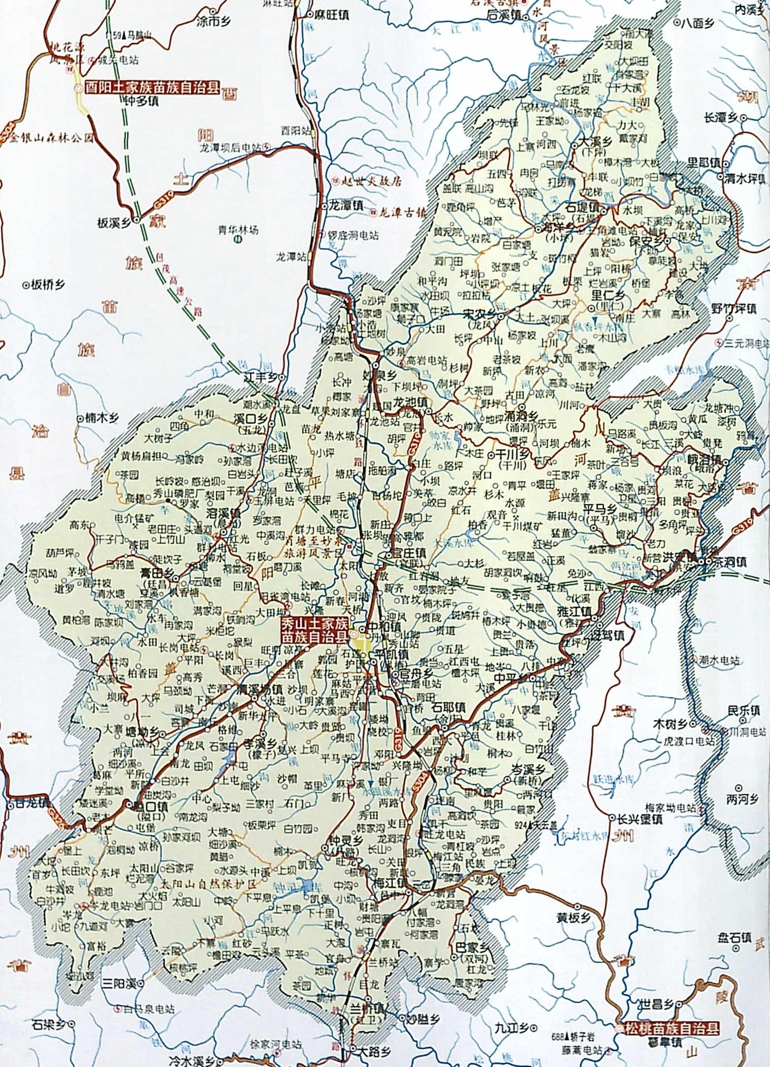 重庆到秀山地图; 湖南省花垣县地图; 秀山土家族苗族自治县;